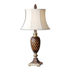 Weldon Woven Design Table Lamp - *This lamp has a weathered wood tone finish with golden bronze metal details.