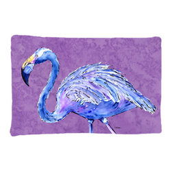 Caroline's Treasures - Flamingo on Purple Fabric Standard Pillowcase Moisture Wicking Material - Standard White on back with artwork on the front of the pillowcase, 20.5 in w x 30 in. Nice jersy knit Moisture wicking material that wicks the moisture away from the head like a sports fabric (similar to Nike or Under Armour), breathable performance fabric makes for a nice sleeping experience and shows quality. Wash cold and dry medium. Fabric even gets softer as you wash it. No ironing required.