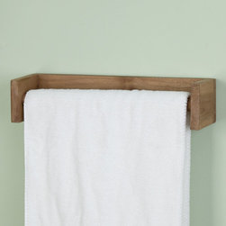 Teak Towel Bar - The simple design of this Teak Wood Towel Bar with squared ends and round bar make it universal to coordinate with any style of bathroom decor.