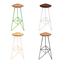 brave space design - Acute Stools, Natural Bamboo, High, Apple - The Acute Stool is a design that derives its strength from the power of threes. Made using three pieces of wood for the seat and outfitted with a trio of metal legs, the piece's acute angles and radial symmetry provide extra strength. A triangular triumph for your derriere, the uniquely shaped top allows your legs a comfortable rest amid a backdrop of acute angles.