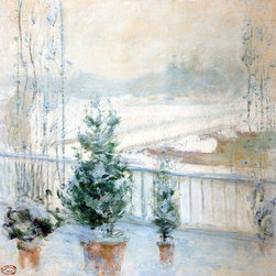 "John Twachtman Balcony in Winter - 16"" x 16"" Premium Archival Print - 16"" x 16"" John Twachtman Balcony in Winter premium archival print reproduced to meet museum quality standards. Our museum quality archival prints are produced using high-precision print technology for a more accurate reproduction printed on high quality, heavyweight matte presentation paper with fade-resistant, archival inks. Our progressive business model allows us to offer works of art to you at the best wholesale pricing, significantly less than art gallery prices, affordable to all. This line of artwork is produced with extra white border space (if you choose to have it framed, for your framer to work with to frame properly or utilize a larger mat and/or frame).  We present a comprehensive collection of exceptional art reproductions byJohn Twachtman."