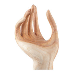 Brilliant Imports - Wooden Model Hand - Give someone a hand-- a long, elegant hand-- with this gracefully carved wooden model. Use it simply to ornament an area or put it to use holding jewelry, scarves, etc.