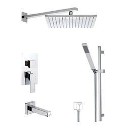 Remer - Square Shower System with Sliding Rail, Matte Black - Need a tub and shower faucet? This one is a wall-mount contemporary tub and shower faucet that will fit perfectly into your contemporary master bath.