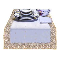Indian Selections - Hand Crafted White Gold Table Runner, 18 X 108 Inches - Fabric: Poly Art Silk Sari fabric