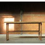 European vintage industrial furniture - Wooden sideboard with steel legs no. 5
