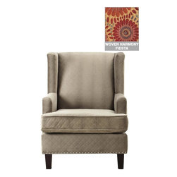 Home Decorators Collection - Ashton Wing Chair - Our stylish Ashton Wing Chair brings instant elegance to your living room decor. With nailhead trim along the arms, wings and bottom of the chair, this armchair is the perfect location for reading a good book or lounging after a long day. Eucalyptus wood legs in dark brown espresso finish. Includes burnished bronze or shiny silver nailheads.