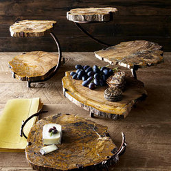 Petrified Wood Serving Pieces - I have been wanting these petrified wood serving plates. Use them as cheese or fruit plates. Your guests will love them too.