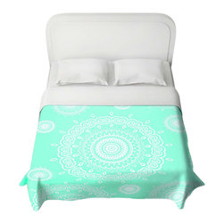 DiaNoche Designs - Duvet Cover - Infinity Mint - Lightweight and super soft brushed twill Duvet Cover sizes Twin, Queen, King.  Cotton Poly blend.  Ties in each corner to secure insert. Blanket insert or comforter slides comfortably into Duvet cover with zipper closure to hold blanket inside.  Blanket not Included. Dye Sublimation printing adheres the ink to the material for long life and durability. Printed top, khaki colored bottom, Machine Washable, Product may vary slightly from image.