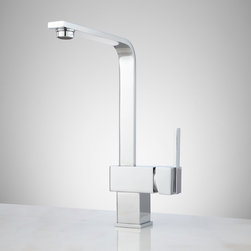 Kurigan Single-Hole Kitchen Faucet with Swivel Spout - The Kurigan Single-Hole Kitchen Faucet stands out with bold, modern shaping and curved angular neck. A swiveling spout moves with you to make prep and cleanup easier, while a single-lever handle lets you effortlessly adjust water temps.