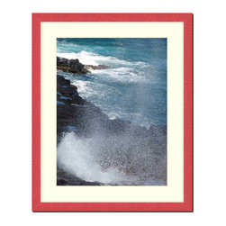 """Frames By Mail - Wall Picture Frame Hammered Red pearlized finish with a white acid-free matte, 2 - This 20X24 hammered red pearlized finish picture frame is 1"""" wide and has a white matte, for a 16X20 picture, can be removed to accommodate a larger picture.  The frame includes regular plexi-glass (.098 thickness) foam core backing and can hang either horizontal or vertical."""