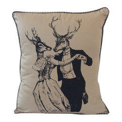 Hold Me Deer Pillow - These gaily dressed, vintage-inspired deer make quite a couple against the soft neutral upholstery of this pillow. Use it to bring a rustic, but thoroughly fun new charm to the family room.