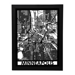 Cut Maps - Minneapolis Street Map - The Cut Maps 'City Art' collection are designed from real city maps, they provide a unique birds-eye view of your favorite neighborhoods and streets to display in your home or office.