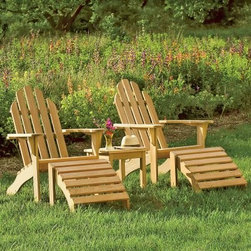 Oxford Garden Classic Adirondack Chair - Slip into the comfort of the Oxford Garden Classic Adirondack Chair to enjoy the warm summer weather. It features a gently curved back and wide arms that are the hallmark of a fine Adirondack. The final word in comfort, this attractive chair offers you years of relaxation. A perfect combination of functionality and style, this chair is designed to withstand harsh seasonal elements for long-lasting utility. Rust-proof, stainless steel hardware fortifies its sturdy construction. Shorea Wood: An Eco-Friendly Choice Like teak, it's more expensive counterpart, Shorea is a high-quality hardwood praised not only for its looks, but also for its longevity and resistance to decay. Shorea is hard and dense, like teak. In fact, it possesses an even tighter wood grain, making it heavier, denser, and harder than teak, and both woods are extremely resistant to decay. Shorea wood contains a comparatively high oil content, which not only enhances its defenses against the ravages of time and changing climate, but also against destructive insect infestations. So if teak and Shorea are so similar, why does teak cost up to twice as much? Shorea's lower cost can be attributed to its abundance compared to teak's rarity. This abundance of supply is also what makes Shorea a green choice. Shorea wood is carefully regulated. Only mature trees can be legally harvested. This ensures a steady supply of Shorea wood, while also protecting irreplaceable forests. Because Oxford Garden obtains their Shorea wood from superior sources, minimal processing is required to bring out the wood's stunning color and grains. This means less chemicals used. Oxford Garden's factories use recycled wood to fuel production kilns. They take steps to conserve natural resources and the result is a smaller carbon footprint. Why Choose Oxford Garden? Exquisite pieces and impressive product assortment aside, there are several factors that set Oxford Garden apart from the competitio