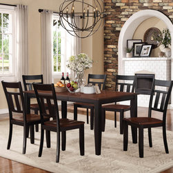Homelegance - Homelegance Westport 7 Piece Dining Room Set in Black & Cherry - The two-tone black and cherry finish of the Westport Collection provides a timeless look to your casual dining room. Coordinating wood chairs match the black table legs that rise to support the expandable cherry finished tabletop. The Westport Collection is offered in both counter and traditional dining heights.