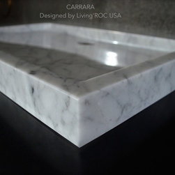 """Living'ROC - 27"""" White Marble bathroom Trough Sink - CARRARA - Rectangular Trough  Natural stone Bathroom sink CARRARA - 27.5' x 19.7' x 2.40'- is a genuine interior DECO White marble. The 'Exceptional' cut in the block without any comparison with plastic and other chemical resin market often unaffordable.  You will definitely not let anyone feel indifferent with this 100% natural stone unique in the US and exclusively available on Living'ROC.net.  Feel free to click on our facebook portfolio page to inspire yourself with our clients' projects...Simply our living'ROC style.  The outstanding opportunity to make your world unique!  Add great value to your home by installing LivingRoc's Creations and tell your stone story through the years of conception.   Its Zen-style pure and sleek lines will give a cool and chic look to your trendy bathroom.   Made from a superb block of Carrara White  Marble this bathroom vessel sink will delight lovers of beautiful work looking for rare products. Add value to your home by transforming your bathroom into an oasis of elegance calm and tranquillity. Discover the well-being and the restful feeling our creation can offer you. CARRARA  is one of the most fashionable in our bathrooms range. The very popular Carrara marble is dominant in strength of great value and authentic in look and feel.  Our creation is delivered without an overflow drain and faucet (not included) - every US drains and faucets models you can find on the market will fit perfectly on Living'ROC vessel sink. This model is ready to use over the countertop. The photos you see online have been taken with extreme care by our Founder CEO - Florent LEPVREAU because without them we would not be one of the natural stone business key player of the online European continent. Once you have encountered the product in your home you will always have pure happiness for the love of the materials. It will be beyond your expectations because what you see online at livingroc.net is what"""