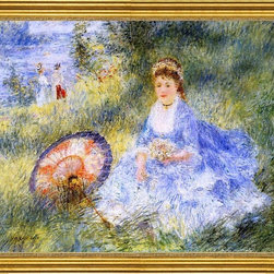 "Pierre Auguste Renoir-16""x20"" Framed Canvas - 16"" x 20"" Pierre Auguste Renoir Young Woman with a Japanese Umbrella framed premium canvas print reproduced to meet museum quality standards. Our museum quality canvas prints are produced using high-precision print technology for a more accurate reproduction printed on high quality canvas with fade-resistant, archival inks. Our progressive business model allows us to offer works of art to you at the best wholesale pricing, significantly less than art gallery prices, affordable to all. This artwork is hand stretched onto wooden stretcher bars, then mounted into our 3"" wide gold finish frame with black panel by one of our expert framers. Our framed canvas print comes with hardware, ready to hang on your wall.  We present a comprehensive collection of exceptional canvas art reproductions by Pierre Auguste Renoir."