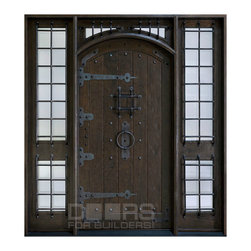 Rustic Collection (Custom Solid Wood Doors) - Custom Front Entry Door -  Single with 2 Sidelites - Rustic Collection - Doors For Builders Inc.