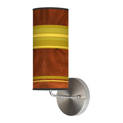jefdesigns - Horizontal Stripey 1 Wall Sconce - A cut above the rest, this light will really stand out on your wall, with its charming woodgrain background and whimsical green stripes wrapping around the cylindrical linen shade. The metal base is clean and modern, while the retro look of the shade will make your whole room beam.