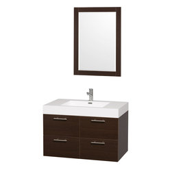 Wyndham - Amare 36in. Wall Vanity Set in Espresso w/ Acrylic-Resin Top and Integrated si - Modern clean lines and a truly elegant design aesthetic meet affordability in the Wyndham Collection Amare Vanity. Available with green glass or pure white man-made stone counters, and featuring soft close door hinges and drawer glides, you'll never hear a noisy door again! Meticulously finished with brushed Chrome hardware, the attention to detail on this elegant contemporary vanity is unrivalled.