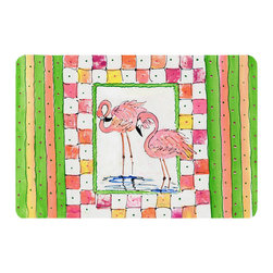 Caroline's Treasures - Bird - Flamingo Kitchen Or Bath Mat 24X36 - Kitchen or Bath COMFORT FLOOR MAT This mat is 24 inch by 36 inch.  Comfort Mat / Carpet / Rug that is Made and Printed in the USA. A foam cushion is attached to the bottom of the mat for comfort when standing. The mat has been permenantly dyed for moderate traffic. Durable and fade resistant. The back of the mat is rubber backed to keep the mat from slipping on a smooth floor. Use pressure and water from garden hose or power washer to clean the mat.  Vacuuming only with the hard wood floor setting, as to not pull up the knap of the felt.   Avoid soap or cleaner that produces suds when cleaning.  It will be difficult to get the suds out of the mat.