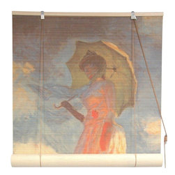 Oriental Furniture - Girl With a Parasol Bamboo Blinds - (24 in. x 72 in.) - This all natural bamboo blind features a stunning, high definition reproduction of Claude Monet's  Girl With a Parasol . Easy to set up and install, this elegant blind is perfect for the art lover's home.