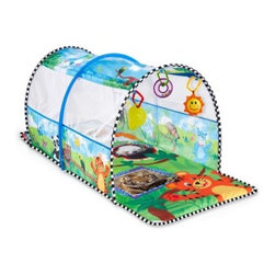 Baby Einstein 2-in-1 Safari Adventure Gym and Tunnel - The ultimate play gym for little ones, the Baby Einstein 2-in-1 Safari Adventure Gym and Tunnel will have your mini me crawling and playing peek-a-boo in no time. This safari-themed crawling mat provides baby with four and a half feet of jungle fun. Patterned in colorful animated and real-life jungle images, the padded mat gives infants plenty of crawling space to go exploring. Mesh side panels in the tunnel let parents engage in fun peek-a-boo play. A smiling sun rattle, baby teether, and ring rattle hang from the tunnel and encourage your child in play and discovery. This fun tunnel is designed to be lightweight and portable so your little tike can enjoy a safari adventure anywhere! Tunnel is machine-washable and includes six links to attach your child's favorite toys.About Baby Einstein and Kids IIBaby Einstein is part of the Kids II family. Kids II was founded in 1969 when a grandmother came up with a great idea to keep infants from slipping in the bathtub. Since then, Kids II has been inventing ingenious solutions and brands for today's families. Baby Einstein offers a wide range of developmental and entertainment products for babies and toddlers. Their focus is to create high-quality, innovative products that bring the arts and humanities to babies in a way that's fun and age appropriate. What makes Baby Einstein products unlike any other? They are created from a baby's point of view and incorporate a unique combination of real world objects, music, art, animals, and nature. Baby Einstein is committed to being a resource to parents. They want to help you appreciate the job you're doing as a parent, which is the most important and rewarding job anyone can have.
