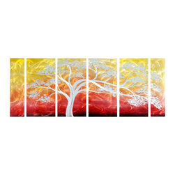 Pure Art - Eden's Garden Metal Wall Art Set of 6 - Elegant silver branches of this splendid tree span from one beautiful panel to the next across this six panel metal wall hanging group. Add this vibrant colored splendid grouping to any area of your home or office to bring style and zest. Panels have been expertly hand painted and crafted using only the finest of materials by highly skilled artisansMade with top grade aluminum material and handcrafted with the use of special colors, it is a very appealing piece that sticks out with its genuine glow. Easy to hang and clean.