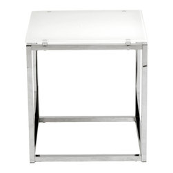 Euro Style - Euro Style Sandor Side Table X-THWERUP23082 - The proportions of these three tables (coffee, side and console) are iconic to say the least.  Tops in clear or pure white glass float on perfectly geometric chrome steel bases.  We're talking Museum of Modern art here.  Not really.  But it's the right thing to do.