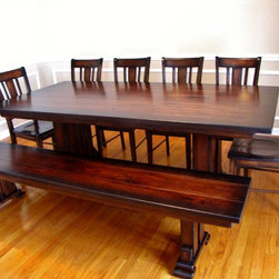 """Past Projects - 84""""x42"""" Double Post Pedestal, Distress Level 2-3 with Planked Table Top, Hickory High Wear, Stained in ESN with Black Consistent Shadowing; Paired with Bench & San Remo Chairs Finished to Match"""