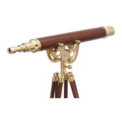 "Handcrafted Model Ships - Floor Standing Brass/Wood Anchormaster Telescope 50"" - Beach Theme - The Floor Standing Brass/Wood Anchormaster Telescope 50"" is a beautiful, 100% brass and wood, refractor telescope mounted on a wooden tripod. This wood and brass telescope is a fully functioning nautical masterpiece that adds class and sophistication to any room it�s in. This is a perfect nautical gift for the explorer in your life. The main scope is solid polished brass with a wood encased body, which shines beautifully when placed in the sunlight. Focusing is accomplished by adjusting the eyepiece ring on the telescope tube, with up to 15x magnification."