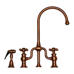 Whitehaus Collection - Antique Copper Whitehaus WHTTSLV3-9773SPR Traditional Kitchen Faucet with S - Combination of modern and traditional style makes refreshing touch to any kitchen decor. Charming historical design with matching side spray are great addition to this traditional kitchen faucet by Whitehaus. Side spray will make it easy for you to wash dishes of any size, prepare food. High arch goose neck allows water flows smoothly.