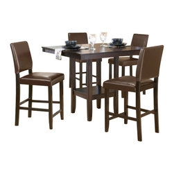 Hillsdale Furniture - Hillsdale Arcadia 5-Piece Counter Height Set with Parson Stools - The Hillsdale Arcadia 5-piece counter height set comes with a beautiful table and 4 parson stools that will make your dining room stand out. The table has a stunning top and is made from a sturdy wooden frame. This amazing set will make a great addition to your family meal time.