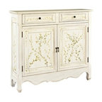 "Powell - White Hand Painted Wood Finish With Painted Leaf Pattern 2-Door Console - White Hand Painted wood finish with Painted Leaf Pattern 2-Door console.  The white Hand Painted console adds sophistication and class to any room. The decorative curved bottom adds an extra touch of drama to the piece while a hand painted leaf pattern adorns the front. The console opens with two doors to reveal storage space. This is the perfect piece to add to any entryway, hall, bedroom or living area. Measures 41"" x 11"" x 36"" tall. Some Assembly Required."