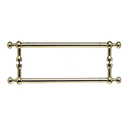"""Top Knobs - Somerset Weston Back to Back Door Pull - Polished Brass - Length - 21 5/32"""", Width - 1 5/32"""", Projection - 2 3/4"""", Center to Center - 18"""", Base Diameter - 13/16"""""""
