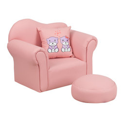 Flash Furniture - Flash Furniture Kids Pink Chair and Footrest - Kids will now get to enjoy furniture designed specifically for their size! This adorable chair with a wavy back is sure to be a piece that your child will love. This fun set features a chair and footrest. This portable chair is great for seating in any room. The vinyl upholstery ensures easy cleaning after accidents or for quick wipe offs.