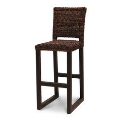 Palecek - Metro 30-inch Bar Stool - Plantation hardwood frame and legs. Fully upholstered in woven dark abaca rope.