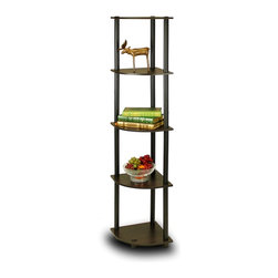 Furinno - Furinno 99811 Turn-N-Tube Corner Shelf, Espresso/Black - Furinno Turn-N-Tube Home Living Mini Storage and Organization Series: 5-Tiers No Tools Tube Storage Shelving Unit . (1) Unique Structure: Open display rack, shelves provide easy storage and display for decorative and home living accessories. Suitable for rooms needing vertical storage area. Designed to meet the demand of low cost but durable and efficient furniture. It is proven to be the most popular RTA furniture due to its functionality, price, and the no hassle assembly. (2) Smart Design: Easy Assembly and No tools required. A smart design that uses durable recycled PVC tubes and engineered particleboard that withstand heavy weight. Just repeat the twist, turn and stack mechanism, and the whole unit can be assembled within 10 minutes. Experience the fun of D-I-Y even with your kids . (3) The  Particleboard is manufactured in Malaysia and comply with the green rules of production. There is no foul smell, durable and the material is the most stable amongst the particleboards. The PVC tube is made from recycled plastic and is tested for its durability. A simple attitude towards lifestyle is reflected directly on the design of Furinno Furniture, creating a trend of simply nature. All the products are produced and assembled 100-percent in Malaysia with 95% - 100% recycled materials.