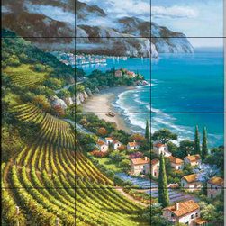 The Tile Mural Store (USA) - Tile Mural - Sk - Vineyard Village I - Kitchen Backsplash Ideas - This beautiful artwork by Sung Kim has been digitally reproduced for tiles and depicts a vineyard scene next to the ocean.  Waterview tile murals are great as part of your kitchen backsplash tile project or your tub and shower surround bathroom tile project. Water view images on tiles such as tiles with beach scenes and Mediterranean scenes on tiles Tuscan tile scenes add a unique element to your tiling project and are a great kitchen backsplash idea. Use one or two of our landscape tile murals for a wall tile project in any room in your home for your wall tile project.