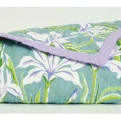 Bridgehampton Quilt - This beautiful quilt is like an explosion of a glorious garden filled with spring greens and soft lavender iris.
