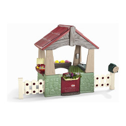 Little Tikes - Home and Garden Playhouse - Features: -Home and garden playhouse.-Bring out the do it yourself skills in your kids.-Can build the fence and hang the flower box all by themselves.-Kitchenette has pretend stove with clicker knobs and a faucet for imaginative play.-Plant and grow real flowers in the flower box.-Playhouse features an open design with a working door.-Mailbox with flag, and multiple play areas.-Suitable for age 18 months and up.-Made in the USA.-Includes 1 home and garden playhouse, 1 flower box, 6 fence pickets, 16 nails / bolts, 1 hammer, 1 screwdriver, and 1 wrench.-Includes pounding bench and toolbox, and a sand and water/planting play area.-Distressed: No.-Country of Manufacture: United States.Dimensions: -52.75'' H x 80.31'' W x 36.84'' D, 57 lbs.-Overall Height - Top to Bottom: 52.75.-Overall Width - Side to Side: 52.75.-Overall Depth - Front to Back: 36.84.-Overall Product Weight: 57 lbs.