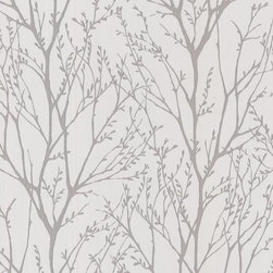 Brewster Home Fashions - Delamere Pewter Tree Branches Wallpaper Bolt - A truly enchanting wallpaper design that colors a storybook scene on walls complete with a magical tree forest treated with a sweet shimmer effect.