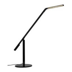 Koncept Lighting - Black Adjustable LED Task Lamp - ELX-A-W-BLK-DSK - This LED desk lamp consumes just 6 watts of power with its 28 individual LED lights rated to last an average of 40,000 hours. Each light burns between 3200 - 3700 degrees Kelvin, creating a warm white color. Three pivot joints allow the head to be positioned at various heights and lengths. A built-in touch dimmer allows for a total of 11 different light levels. A 9-foot plug-in cord is included. Takes (1) 6-watt LED bulb(s). Bulb(s) included. CUL listed. Dry location rated.