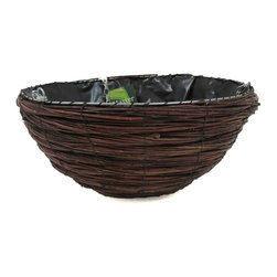 "Master Garden Products - Willow Hanging Planter Basket with chain, 14""W x 9""H - Our willow planters are for outdoor and indoor usage and are excellent for a wide range of plants. The round tapered hanging tub planters are suitable for hanging flowers like the fuchsia or use them as planters place on the ground. These planters are also excellent for planting orchids or any type of small plants. Package includes hanging chain, and plastic liner."