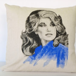 reStyled by Valerie Original - Dolly Parton Decorative Linen Pillow Cover, 16 x 16 Pillow Cover - Pillow cover featuring an image of the amazing Dolly Parton circa 1970s. Part of my line of pop culture pillows depicting cultural icons, this linen pillow cushion cover is guaranteed to make your room sing with fun. Original illustration by Yuriy Ratush for reStyled by Valerie.