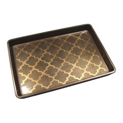 Belle & June - Arabesque Espresso/Coffee Vide-Poche - Every host or hostess needs a beautiful serving tray that could double as an organizer for a dresser, a catch-all for keys and spare change, or become a makeshift coffee table on an ottoman. This gorgeous golden espresso tray is so chic it's Tray!