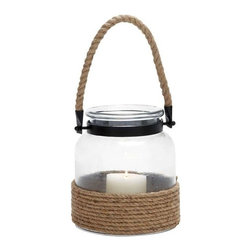 Benzara - Contemporary Designed Glass and Rope Metal Lantern with Rope Handle - Contemporary Designed Glass and Rope Metal Lantern with Rope Handle. Spread the warmth of love with this beautifully designed metal lantern with rope handle. The dimensions of the canning jar glass and rope candle lantern are 8 x 8 x 9. Some assembly may be required.