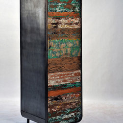 Retro / Midcentury Modern, Tall Amoire - A tall modern, retro style armoire made from salvaged / reclaimed boat wood.  This furniture has a rustic / modern / industrial look and is very well made.