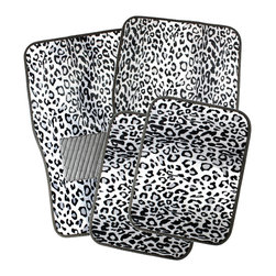 None - Oxgord Snow White Leopard Style Floor Mats with Rubberized Spiked Padding - This floor mat set includes 4 pieces that will fit most vehicles. Great for replacing old,dirty,stained,and irreparable floor mats that will improve your vehicle's interior look and create that brand,new car feel.