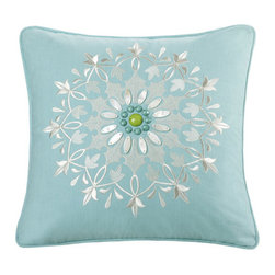 echo design - Sardinia Square Pillow in Aqua - If it's fresh colors and a modern design aesthetic that you're after, you can't go wrong with Echo. Each collection is inspired from the beautiful scarves that Echo is famous for. The collections are filled with bold colors, great prints and special details on the accessories. The comforters have a speical finish with hidden bar tracks, so you get a perfect finish, and no stitching to disrupt the modern prints. The accessories have unique details that being in fun elements from the prints, but are also great stand alone decorative pieces for any room in your home. Echo is guaranteed to add the splash of color you've been looking for. Features: -Pillow. -Color: Aqua. -Material: 100% cotton. -Spot clean.