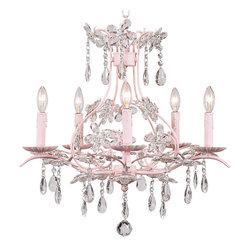 Pink Cinderella Chandelier - Pretty 5 arm Cinderella Chandelier in pink.
